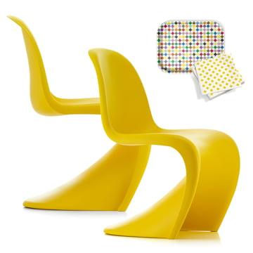 Offer set: 2 Vitra - Panton Chairs, sunlight (special edition) + FREE Classic Tray medium, Diamonds and a napkin set, La Fonda Checks