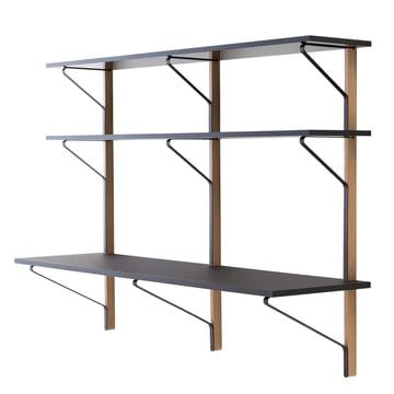 REB 010 Kaari wall shelf with desk 200 cm by Artak in black / natural oak