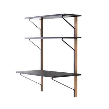 REB 010 Kaari wall shelf with desk 100 cm by Artak in black / natural oak
