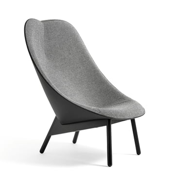 Uchiwa Armchair by Hay in Black Stained Oak and Leather