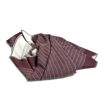 Checked Out Wool Blanket by Hay in bordeaux