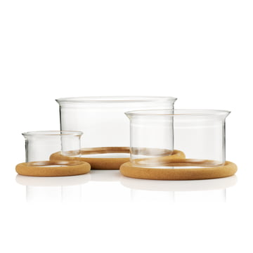 Hot Pot Glass Bowls with Cork Coaster and Silicone Lid by Bodum: