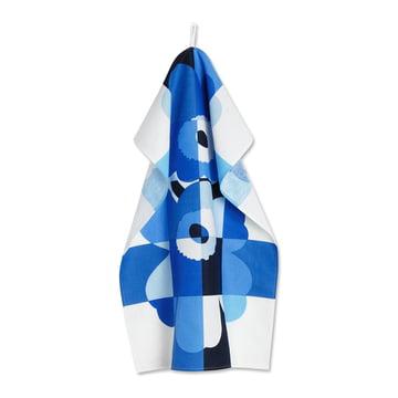 The Ruutu-Unikko tea towel by Marimekko in blue / dark blue / white.