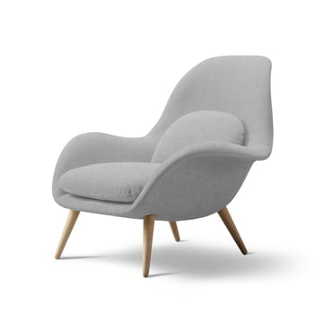 Swoon Chair by Fredericia in Oiled Oak / Light Grey (123 Remix)