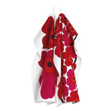 Marimekko - Unikko Tea Towel, set of 2, red / white (winter 2017)