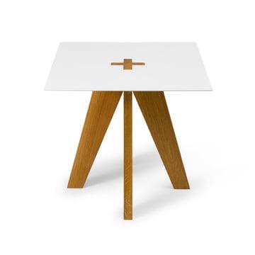 Franz side table by Auerberg in oak / white