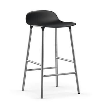 Form Bar Stool 65 cm with chrome frame by Normann Copenhagenin black