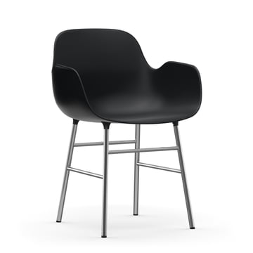Form Armchair with chrome frame by Normann Copenhagen in black