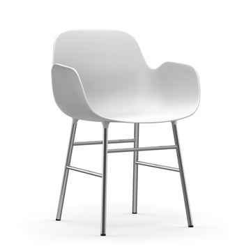Form Armchair with chrome frame by Normann Copenhagenin white