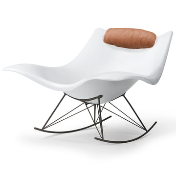 The Fredericia - Stingray Rocking Chair in Matt White / Flint + Free Neck Cushion in Cognac