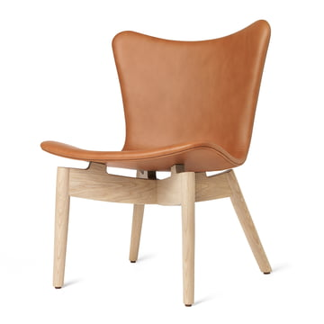 Shell Lounge Chair by Mater made of lacquered matt oak and Ultra Brandy leather