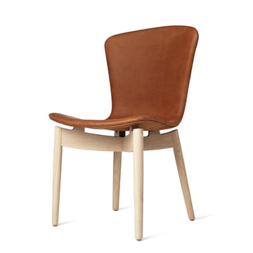 Shell Dining Chair by Mater in Matt Lacquered Oak / Dunes Rust Leather