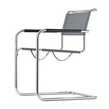 S 34 N Chair by Thonet in chrome / silver fabric