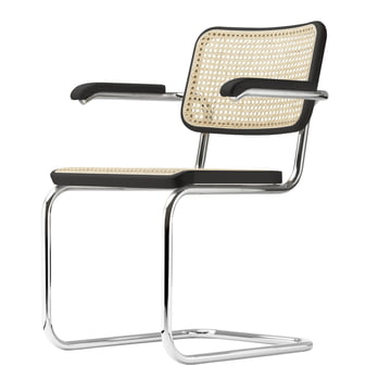 S 64 V Chair by Thonet, chrome-plated / black stained beech (TP 29) / cane lined with plastic mesh.