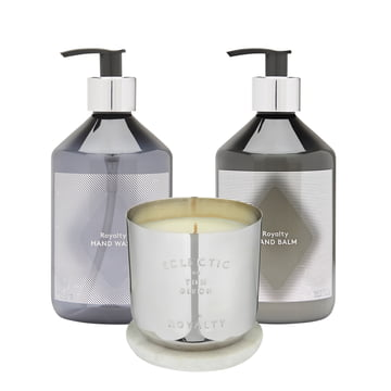 Eclectic Royalty gift set by Tom Dixon with scented candle, hand balm and hand balm