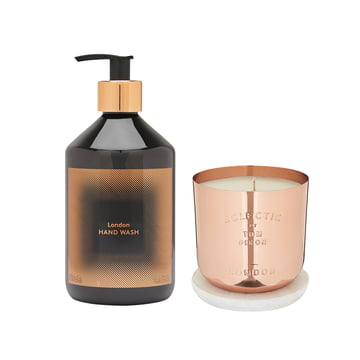 Eclectic London gift set by Tom Dixon with scented candle, hand balm and hand balm.