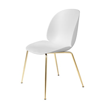 Beetle Dining Chair, Conic Base by Gubi in Brass / White