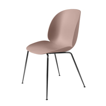Beetle Dining Chair with conic base by Gubi in black chrome / sweet pink