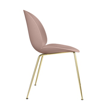 Beetle Dining Chair, Conic Base by Gubi in Brass / Sweet Pink