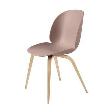 Beetle Dining Chair with Wood Base in Oak / Sweet Pink