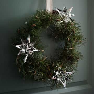 Christmas Star Ornament by Rosendahl on the Door Wreath