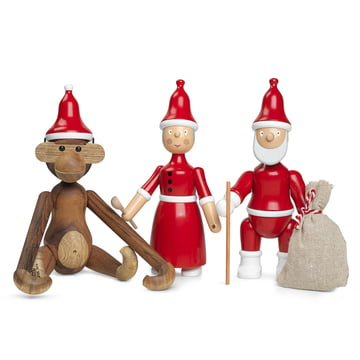 The Wooden Monkey with Christmas Hat, Santa Claus and Mrs Claus by Kay Bojesen