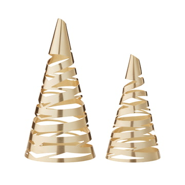 Tangle Christmas tree set of 2 by Stelton in brass