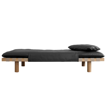 The Pulpo - Pallet Daybed in Black Leather / Light Oak