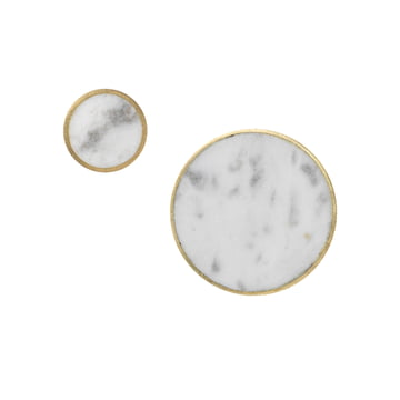 ferm Living - Stone Wall Hooks in Brass / White Marble