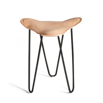 Ox Denmarq - Trifolium Stool, powder-coated steel, black / natural leather