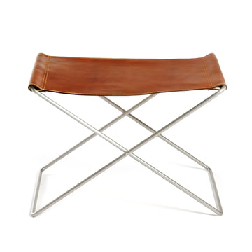 OX Stool by Ox Denmarq, Stainless Steel / Cognac Leather