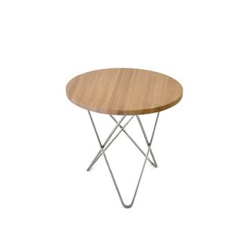 Mini O Side Table Ø 40 cm, Stainless Steel / Oak