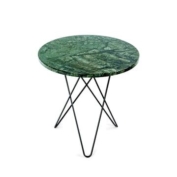 Tall Mini O Side Table Ø 50 cm by Ox Denmark in Black Steel / Green Marble