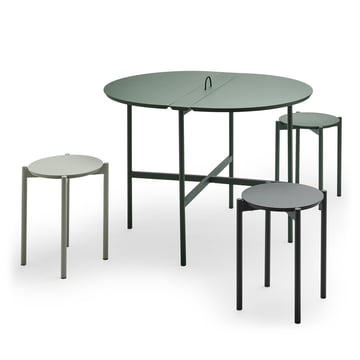The Skagerak - Picnic Table 105 cm in Hunter Green with Picnic Stool in Slate Grey / Anthracite / Hunt Green