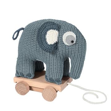 Sebra - Pull-Along Crochet Toy, Elephant in Blue
