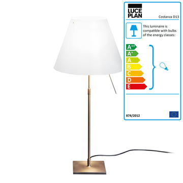 Luceplan - Costanza Table Lamp D13c Complete in Brass / White