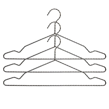 Set of 3 Twisted Coat Hangers in Anthracite