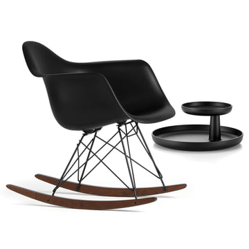 Vitra - Eames Plastic Armchair RAR, dark maple / powder-coated basic dark, basic dark + FREE Rotary Tray, black