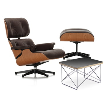 Vitra - Lounge Chair & Ottoman, polished / black sides, american cherrywood / chocolate (classic) + FREE LTR in black HPL / chromed frame