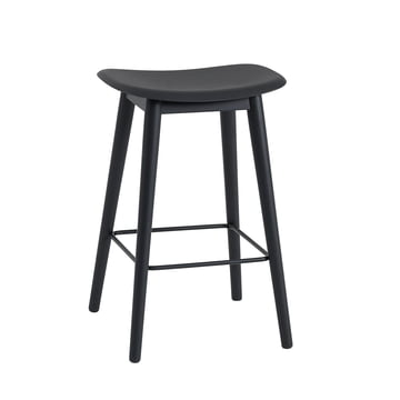 Fiber Bar Stool / Wood Base H65 by Muuto in Black