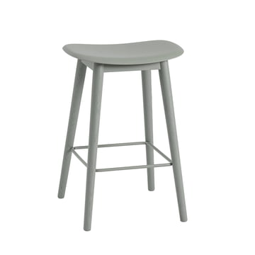 Fibre Bar Stool / Wood Base H65 by Muuto in Grey