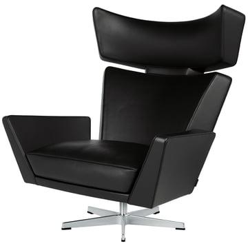Fritz Hansen - Oksen Armchair in Classic Black Leather / Brushed Base