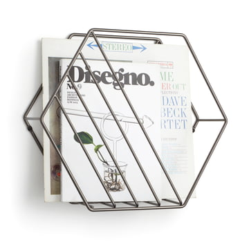 The Umbra - Zina Magazine Holder with Titanium with Newspapers