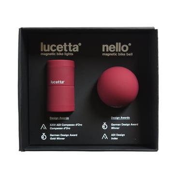 Palomar - The Magnetic Duet: Lucetta Bike Light + Nello Bike Bell, burgundy