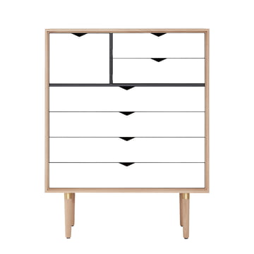 The Andersen Furniture - S8 Chest of Drawers, Soaped Oak / White Front