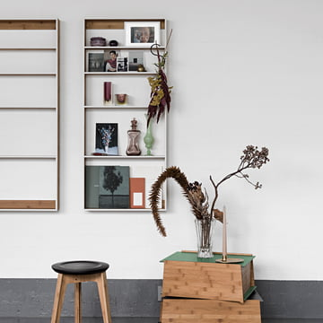 We Do Wood - Fivesquare wall shelf with chest 1-2 storage boxes