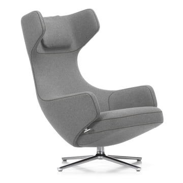 Vitra - Grand Repos Armchair H 41 cm, light gray (01 pebble) / polished aluminium