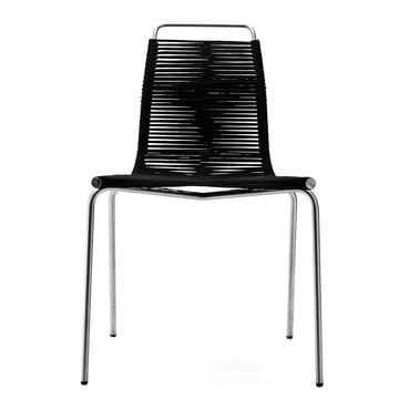 Carl Hansen - PK1 Indoor Chair, chrome-plated steel / black halyard (felt glides)