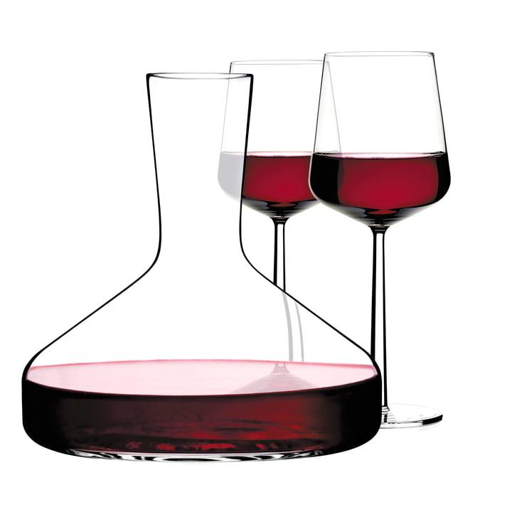Iittala - Wine Carafe Decanter, Essence Red Wine Glasses, filled