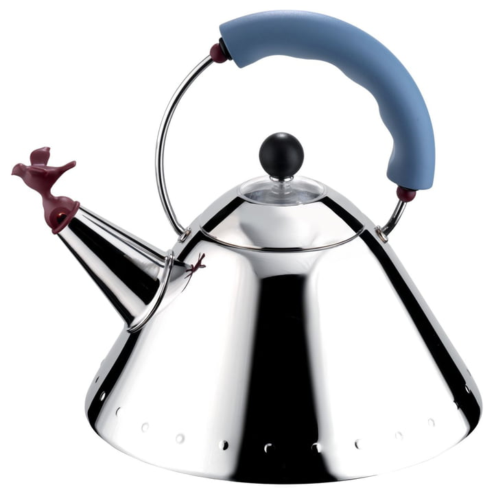 "Kettle 9093 ""Bird Kettle"" from Alessi in polished / light blue"